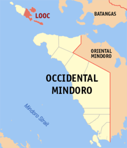 Mapa ti Occidental Mindoro a mangipakita ti lokasion ti Looc, Occidental Mindoro.