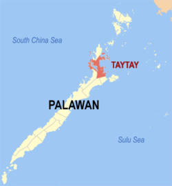 Map of Palawan with Taytay highlighted