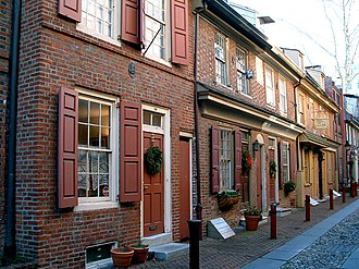 "Federal architecture - Elfreth's Alley in Philadelphia features Federal-style homes and is referred to as ""Our nation's oldest residential street,"" dating to 1702."