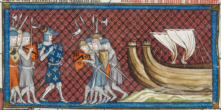Philip Augustus arriving in Palestine - British Library Royal MS 16 G vi f350vr (detail)
