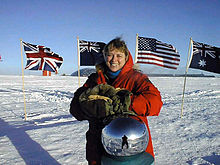 Physician Jerri Nielsen at the ceremonial South Pole marker.jpg