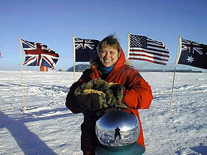 Jerri Nielsen - Image: Physician Jerri Nielsen at the ceremonial South Pole marker