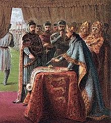 Eine von König Johann Ohneland in England am 15. Juni 1215 unterzeichnete Vereinbarung mit dem revoltierenden englischen Adel