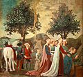 Piero, arezzo, Adoration of the Holy Wood and the Meeting of Solomon and the Queen of Sheba 06.jpg