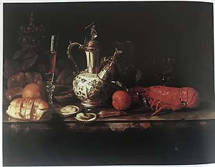 Sumptuous Still Life with Lobster, Oysters, Silvergilt Covered Beaker, Silver mounted Kendi wine flask and Glassware