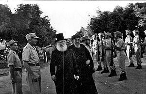 Chief Rabbinate of Israel - Chief Rabbis Herzog (Ashkenazi) and Uziel (Sephardi) visiting an IDF camp in the 1950s.