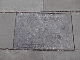 City Hall Park - Sign at City Hall Park