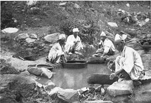 Placer mining - Panning for gold in Korea, c. 1900
