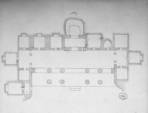 Plan of Ajanta Cave 7, 1850 sketch