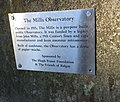 Plaque at the Mills Observatory, Dundee, Scotland.jpg