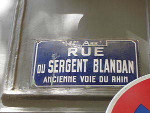 Rue du Sergent Blandan - The plaque indicates that the street is the ancient route of the Rhine.