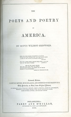 Rufus Wilmot Griswold - Title page of the 1855 edition of The Poets and Poetry of America