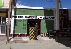 Law enforcement in Bolivia - Policía Nacional in Villazón on the border with Argentina.