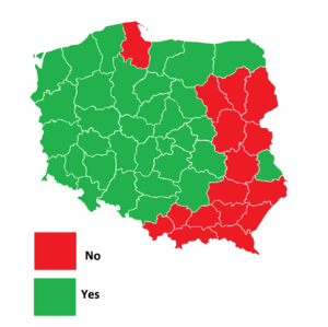 Polish constitutional referendum, 1997 - Image: Polish referendum results by voivodeships, 1997
