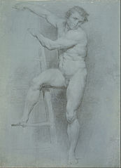 Male Nude Leaning on a Ladder