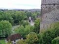 Pont fortifié dit Pont de la Légende depuis le haut de Sauveterre-de-Béarn (à côté de l'église).jpg