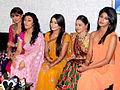 Pooja Gaur, Ragini Khanna, Disha Wakani, Aashka Goradia,Aishwarya Sakhuja on the sets of KBC 02.jpg