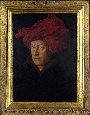 Medieval technology - Portrait of a Man in a Turban, oil painting by Jan van Eyck (1433)