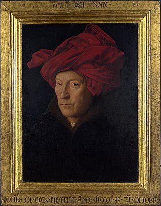 Valet de chambre - Probable self-portrait of Jan van Eyck painted in 1433.  He became a valet in 1425, at a very high salary, and remained one until his death.  He was also used as a diplomat, and once performed a pilgrimage on behalf of his Duke.