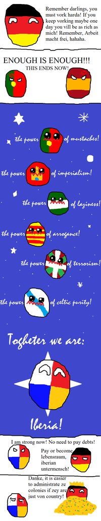 Portugal and Spain try to fight the germanic bully!.png