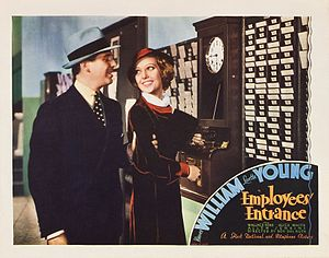 Wallace Ford - Lobby card for Employees' Entrance (1933) featuring Wallace Ford and Loretta Young
