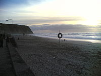 O areal da praia grande.