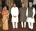 Pratibha Devisingh Patil, the Vice President, Shri Mohd. Hamid Ansari and the Prime Minister, Dr. Manmohan Singh with the new Cabinet Minister, Shri Ajit Singh, after a Swearing-in Ceremony, at Rashtrapati Bhavan.jpg