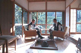 Yasuhiro Nakasone - American President Ronald Reagan and Japanese Prime Minister Yasuhiro Nakasone having lunch at Nakasone's country residence in Hinode, Tokyo, Japan in 1983.