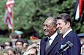 President Ronald Reagan and Anwar El Sadat on The South Lawn at The Arrival Ceremony in Honor of State Visit of President Sadat of The Arab Republic of Egypt.jpg