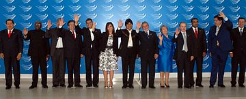 Presidents of UNASUR member states at the Second Brasilia Summit on 23 May 2008. Presidentes unasur (cropped).jpg