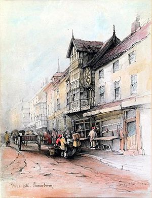 Henry Blunt (chemist) - Watercolour of Pride Hill, Shrewsbury by Henry Blunt (1838)