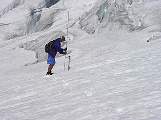 Glacier mass balance - Measuring snowpack on the Easton Glacier by probing to the previous impenetrable surface, this provides a quick accurate point measurement of snowpack