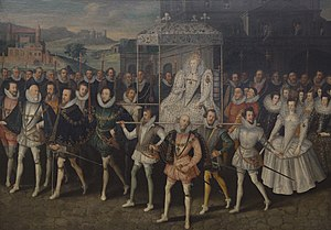 Henry Somerset, 1st Marquess of Worcester - A painting that shows the queen in procession to Blackfriars on her way to the Wedding of Anne Russell and Lord Herbert at Blackfriars by Robert Peake the Elder circa. 1600