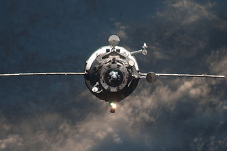 The Progress M-14M resupply vehicle as it approaches the ISS in 2012. Over 50 unpiloted Progress spacecraft have been sent with supplies during the lifetime of the station. Progress M-14M.jpg