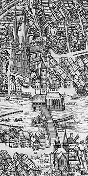 The Grossmünster in the center of the medieval town of Zürich, 1576