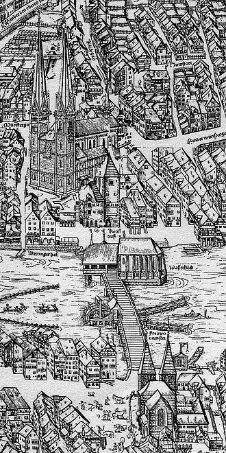 Huldrych Zwingli - The Grossmünster in the centre of the medieval town of Zurich (Murerplan, 1576)