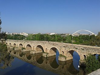 Roman bridge - Puente Romano, Mérida, Spain. With an overall length of 792 m and still in use, is the largest surviving Roman bridge