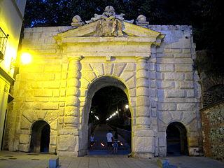 Gate of the Pomegranates cultural property in Granada, Spain