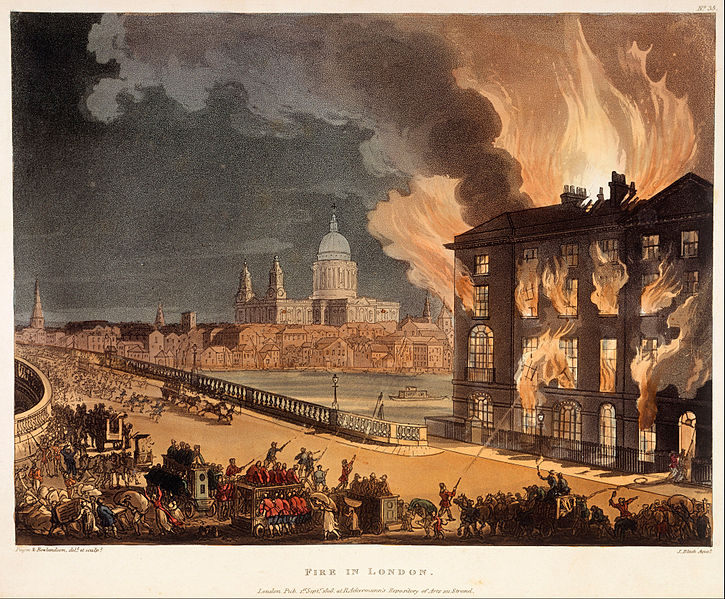 File:Pugin, A.C.; Rowlandson, Thomas; Bluck, J.; Ackermann, Rudolph - print; coloured aquatint and etching - Fire in London - Google Art Project.jpg