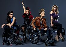 Four women in wheelchairs