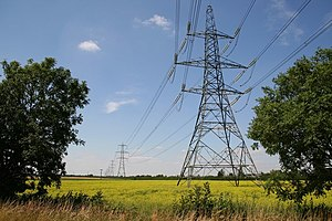 Heckington - A 400 kV pylon line passes to the east of the village at the start of the bypass