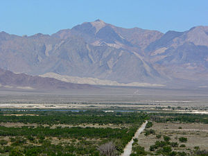 Funeral Mountains - Pyramid Peak seen from Ash Meadows in Nevada