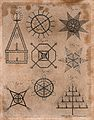 Pyrotechny; designs for fireworks. Engraving by A. Bell. Wellcome V0023738EL.jpg