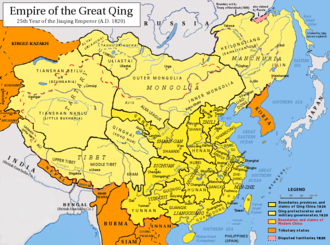 Tibet under Qing rule - The Qing Empire in 1820, with provinces in yellow, military governorates and protectorates in light yellow, tributary states in orange.