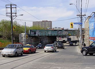 Parkdale, Toronto - The 19th century Queen Street Subway, carrying GO Transit, Via Rail and freight train traffic over Queen Street West, is a gateway to the neighbourhood of Parkdale.