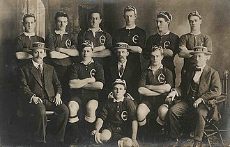 Brothers Old Boys - Pat Murphy, Jimmy Flynn (2nd row 2nd from right), M J McMahon, R McManus, Hugh Flynn (Back row 3rd from right), Vin Carmichael, Tom Ryan, Bill Morrissey and Joe Russell (seated front).