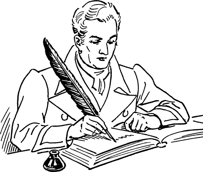 Writing with a quill.  Wikipedia.