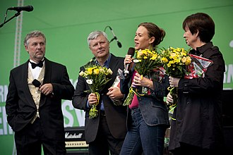 Red-Greens (Sweden) - The leaders/spokespersons of the parties in Kungsträdgården, Stockholm, 2010. From left to right: Eriksson, Ohly, Wetterstrand and Sahlin.