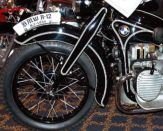 Motorcycle fork - BMW's version of oil-damped telescopic fork, on a 1939 R12