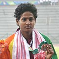 RAIS Rajasinghe (SRI LANKA) Bronze Medal in 100m Women's Hurdles Run, at the 12th South Asian Games-2016, in Guwahati on February 10, 2016 (cropped).jpg